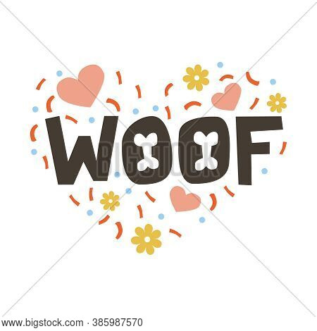 Silhouette Of A Heart Filled With The Inscription Woof, Hearts, Serpentine And Flowers. Gift Card On