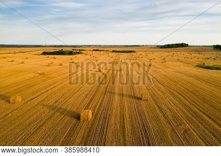 Straw Bales On Farmland With A Blue Cloudy Sky.harvested Field With Bales In Europe.harvest.belarus