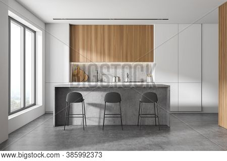 Interior Of Modern Kitchen With White And Wooden Walls, Concrete Floor And Bar With Stools. 3d Rende