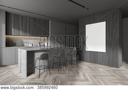 Corner Of Stylihs Kitchen With Gray And Wooden Walls, Wooden Floor And Bar With Stools. Mock Up Post