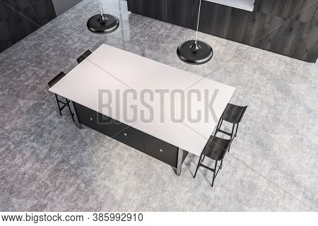Gray Bar With Stools Standing In Stylish Kitchen With Gray Walls And Concrete Floor. Top View. 3d Re