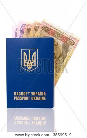 International Ukrainian passport with Hryvna banknotes isolated on background poster