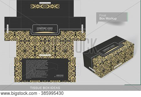 Abstract Dark Gray Color With Vintage Golden Elements Tissue Box Concept, Template For Business Purp