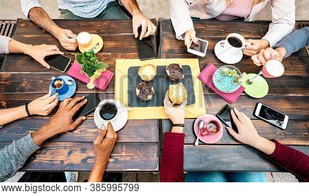 Top Angle View Of Hands With Phones At Coffee Shop Restaurant - People Having Breakfast Together Wit