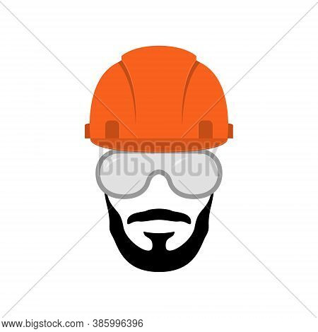 Vector Builder Emblem. Industry, Service Or Repair Icon. Portrait Of Bearded Worker In Helmet And Pr
