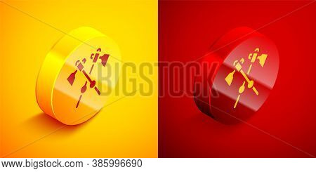 Isometric Crossed Medieval Axes Icon Isolated On Orange And Red Background. Battle Axe, Executioner