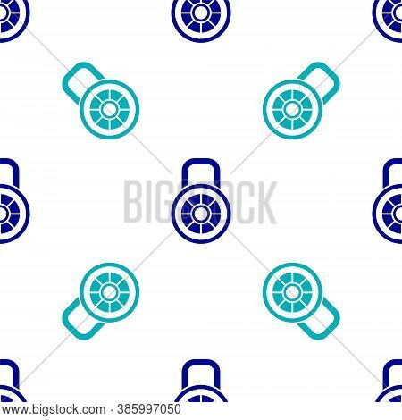 Blue Safe Combination Lock Icon Isolated Seamless Pattern On White Background. Combination Padlock.