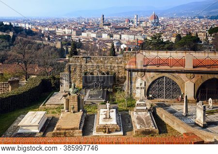 Florence, Italy - February 11, 2018: The San Miniato Al Monte Cemetery In Florence, Italy, With The