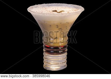 Orgasm Cocktail In A Glass, Art View,  Isolated On Black Background