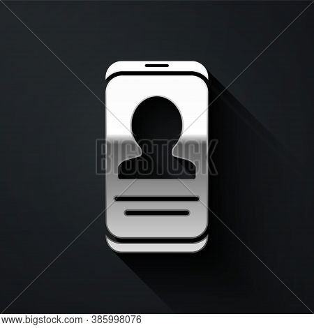 Silver Mobile With Resume Icon Isolated On Black Background. Cv Application. Searching Professional