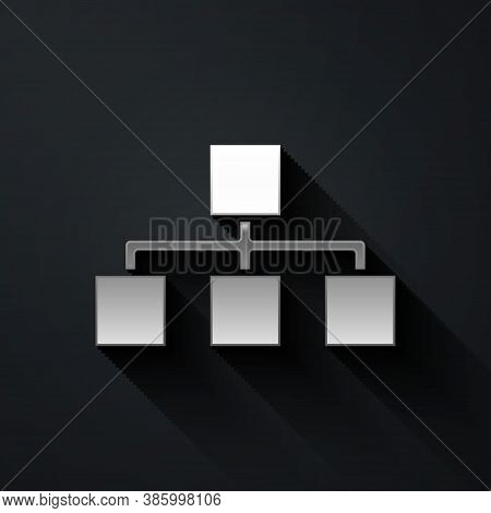 Silver Business Hierarchy Organogram Chart Infographics Icon Isolated On Black Background. Corporate