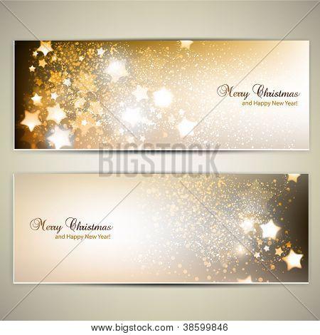Satz von eleganten Christmas Banner mit Sternen. Vektor-illustration