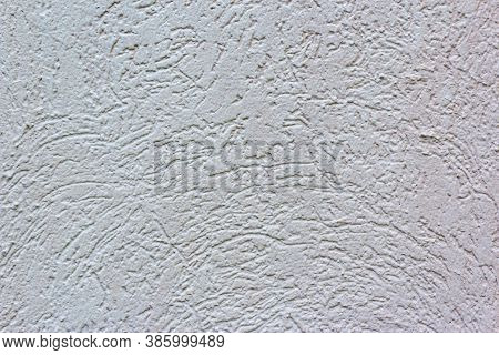 Decorative White Wall Plaster Pattern Stylized In Bark Beetle Texture. The White Texture Of The Surf