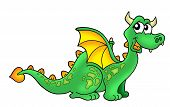 Color illustration of cute green dragon on white background. poster