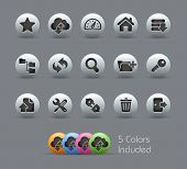 FTP & Hosting Icons // Pearly Series -------It includes 5 color versions for each icon in different layers --------- poster