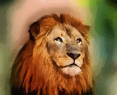Royal King Lion with Majestic Face Portrait Vector poster