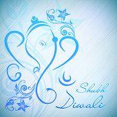 Creative illustration of Hindu Lord Ganesha on floral background. EPS 10. poster