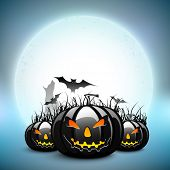 Scary pumpkins with flying bats on Halloween full moon night background. EPS 10. poster