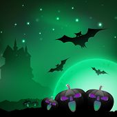 Halloween night background with scary pumpkins, flying bats and silhouette of haunted house. EPS 10. poster