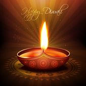 beautiful diwali diya vector background poster