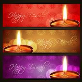 beautiful vector happy diwali headers set poster