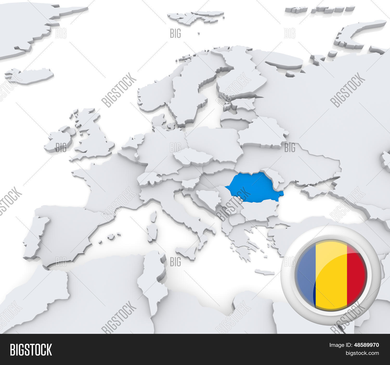 Romania On Map Europe Image & Photo (Free Trial) | Bigstock