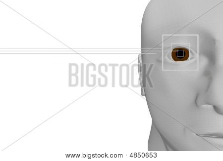 3D Portrait Of A Human Head With A Special Man Cybernetic