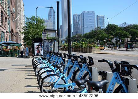Divvy Bike Rental Station On Michigan Avenue, Chicago