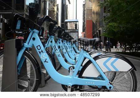 Divvy Bike Rental Station In Downtown Chicago, Side View