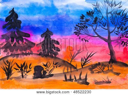 Children's drawing watercolor trees in the forest at sunset poster
