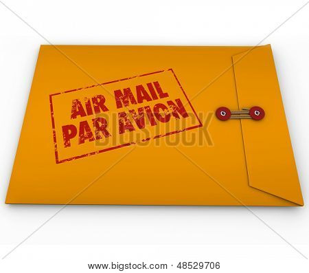 Air Mail Par Avion stamped on a yellow envelope for express airmail service of important documents