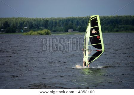 Extreme Windsurfing During A Storm On The River Volga