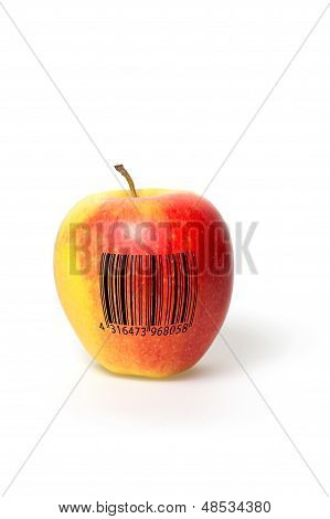 Apple with barcode on a white background