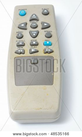 Dirty old VCR Remote control from the front