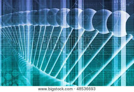 DNA Background with a Science Helix Strand  poster