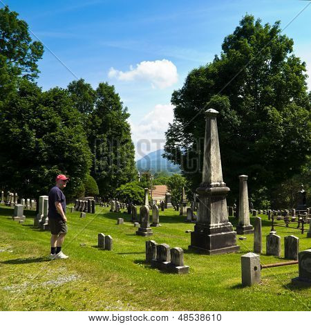 Man In Historic Cemetery
