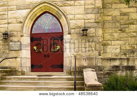 Red Doors Of A Church