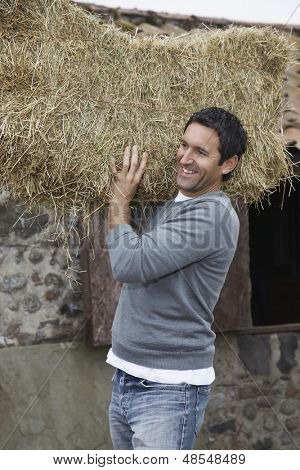 Portrait of a smiling man carrying hay on shoulders outdoors