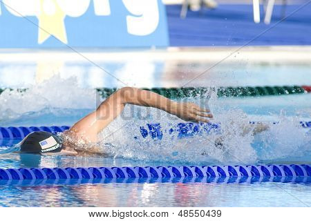 Jul 26 2009; Rome Italy; Peter Vanderkaay (USA) competing in the mens 400m freestyle finals at the 13th Fina World Aquatics Championships held in the The Foro Italico Swimming Complex.