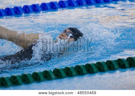 Jul 01 2009; Rome Italy; Elizabeth Pelton (USA) competing in the final of the womens 200m backstroke at the 13th Fina World Aquatics Championships held in the The Foro Italico Swimming Complex.