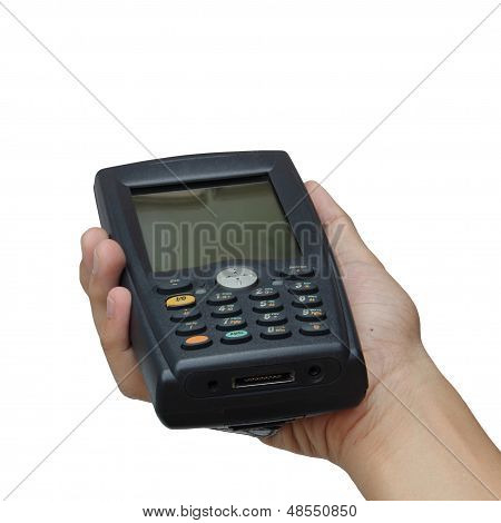 Barcode Scanner Operated On Pocketpc Isolated Over White Background