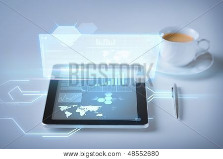 business and technology concept - tablet pc and virtual screen with cup of coffee