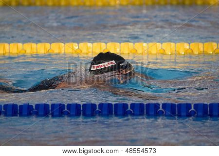 Jul 02 2009; Rome Italy; Ryan Lochte (USA) on his way to winning the gold medal in 400m individual medley at the 13th Fina World Aquatics Championships held in the The Foro Italico Swimming Complex