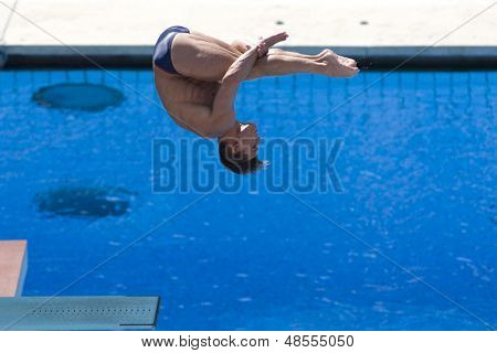 Jul 23 2009; Rome Italy; Troy Dumais (USA) competing in the final round of the men's 3m springboard diving competition at the 13th Fina World Aquatics Championships