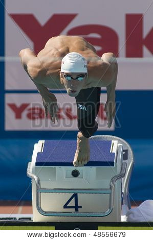 Jul 31 2009; Rome Italy; Michael Phelps (USA) competing in qualification round of the mens 100m butterfly at the 13th Fina World Aquatics Championships held in the The Foro Italico Swimming Complex.