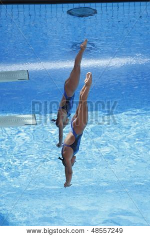 Jul 24 2009; Rome Italy; Kelci Bryant and Ariel Rittenhouse competing in the women's synchronised 3m diving at the 13th Fina World Aquatics Championships held in the The Foro Italico Swimming Complex.