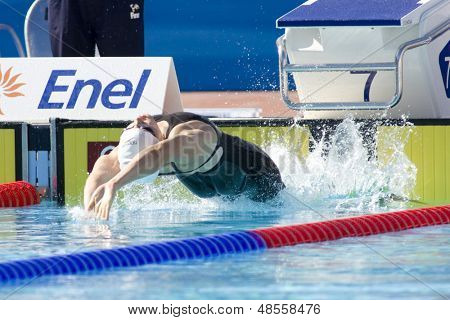 Jul 27 2009; Rome Italy; Elizabeth Pelton (USA) competing in the womens 100m backstroke at the 13th Fina World Aquatics Championships held in the The Foro Italico Swimming Complex.