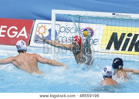 Jul 24 2009; Rome Italy; USA team player Merrill Moses concedes a goal while competing in the preliminary round of the men's waterpolo at the 13th Fina World Aquatics Championships