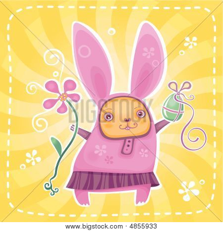 Funny bunny brings you Easter presents. Colorful Egg and flower. To see similar please VISIT MY GALLERY. poster