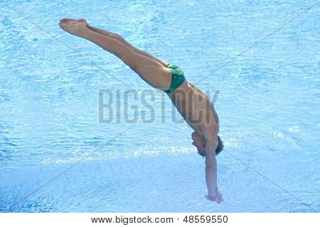 Jul 23 2009; Rome Italy; Matthew Mitcham (AUS) competing in the final round of the men's 3m springboard diving competition at the 13th Fina World Aquatics Championships